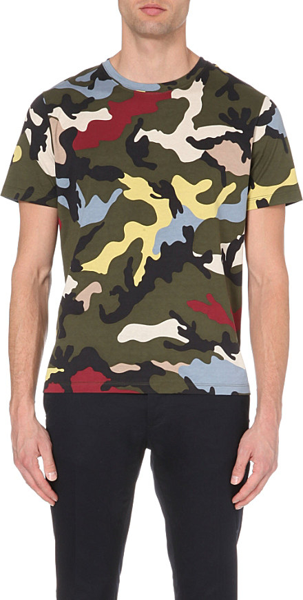 Valentino Camouflage Print Cotton Jersey T Shirt For Men