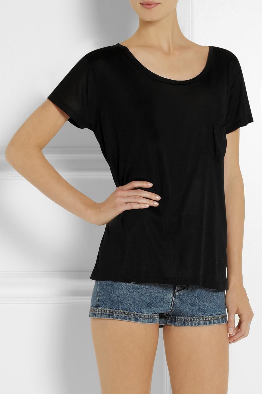 lyst saint laurent silk jersey t shirt in black. Black Bedroom Furniture Sets. Home Design Ideas