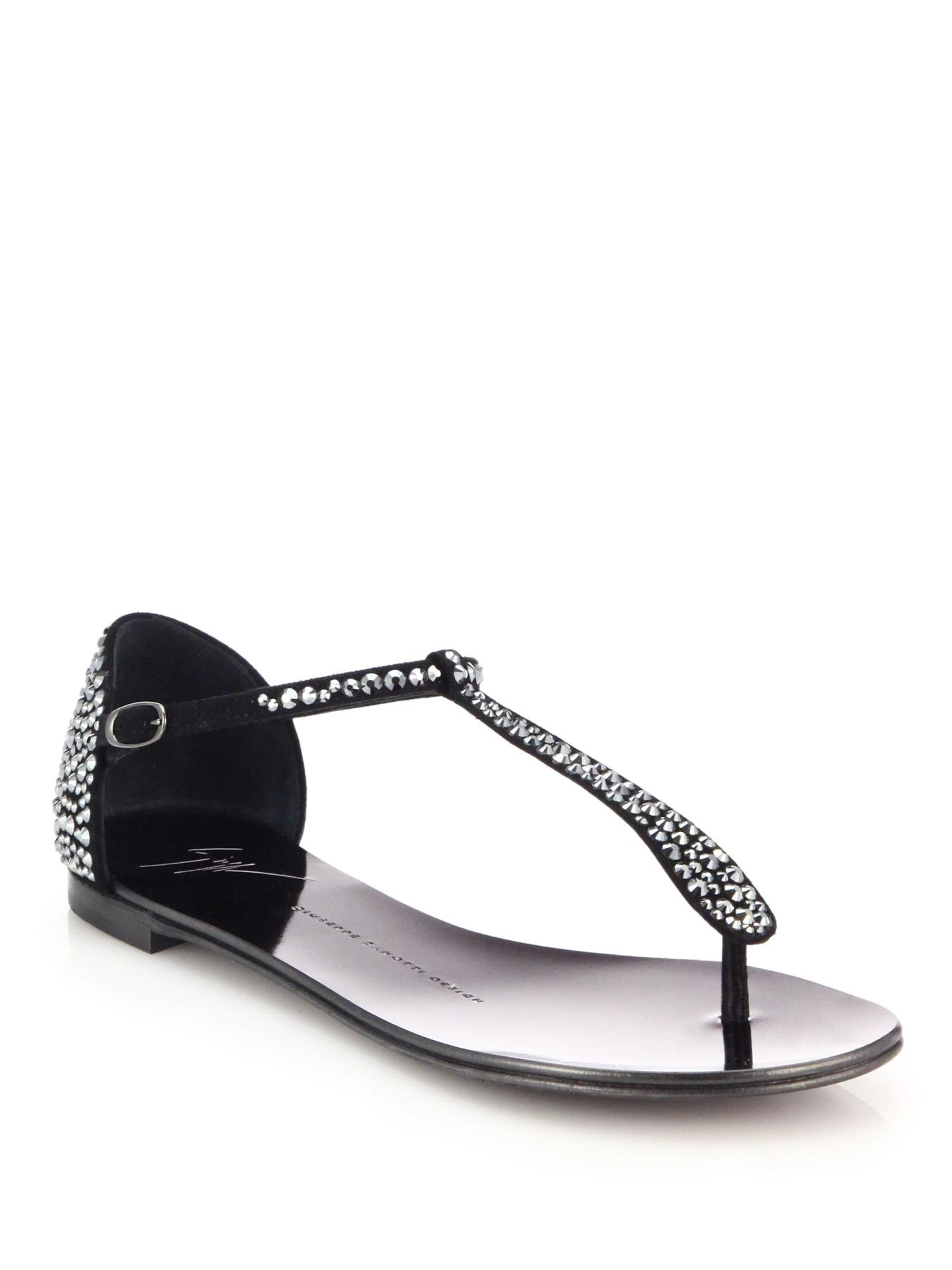 Giuseppe Zanotti Crystal Studded Suede Thong Sandals In