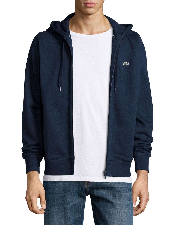 f22371374ebe33 Lyst - Lacoste Full-zip Fleece Hoodie in Blue for Men
