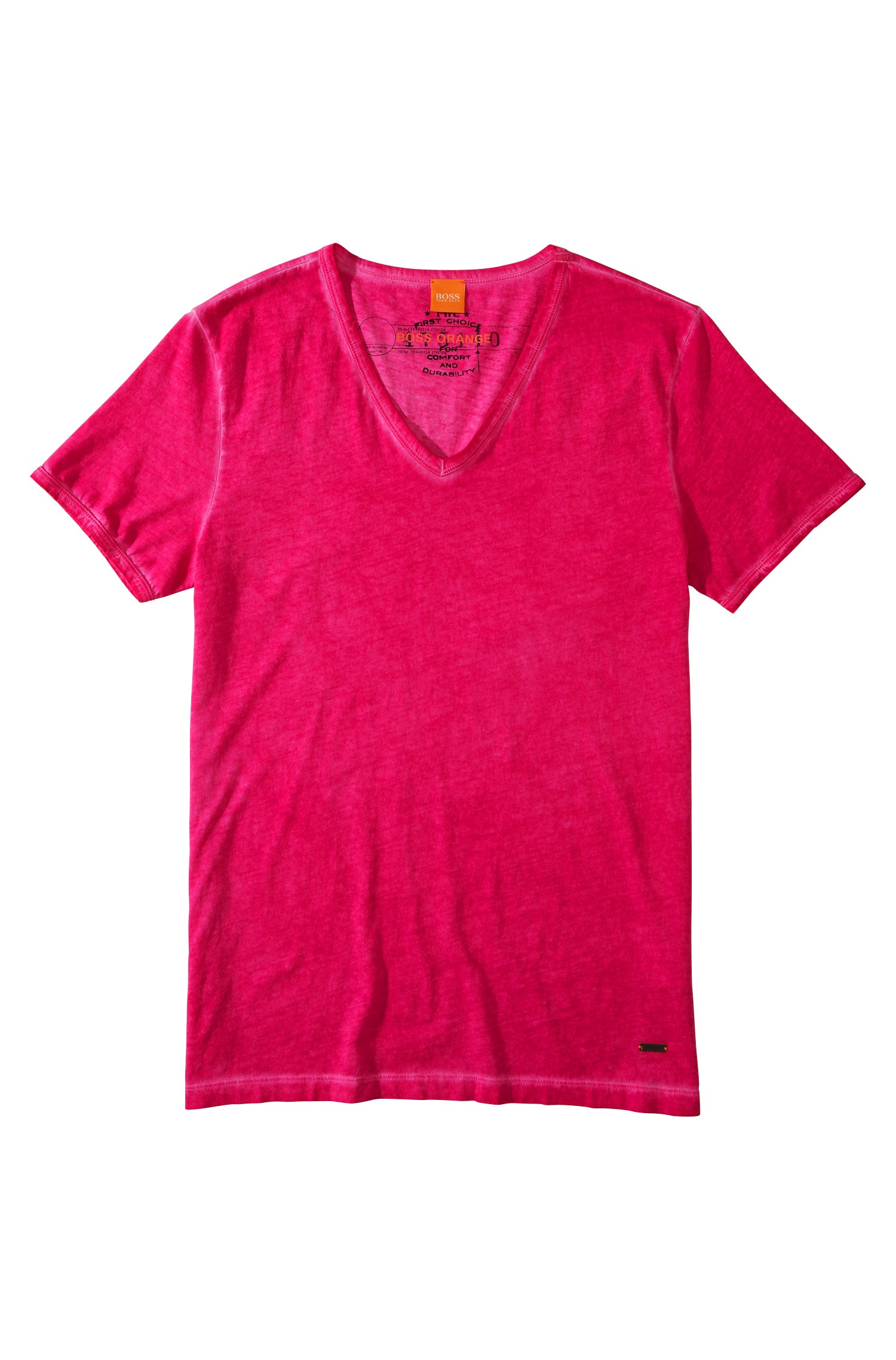 Boss Orange 39 Toulouse 39 Cotton V Neck T Shirt In Pink For