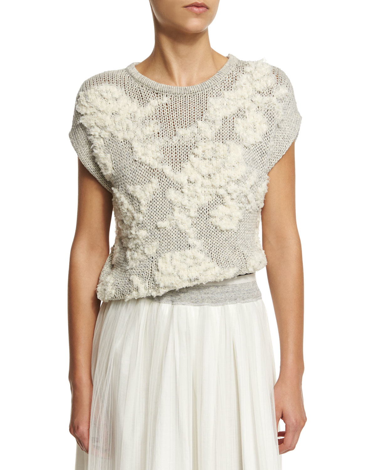 Brunello cucinelli Floral-knit Short-sleeve Sweater in Gray Lyst