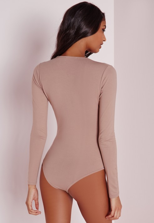 75f10ba72a Lyst - Missguided Long Sleeve Jersey V-neck Bodysuit Taupe in Brown
