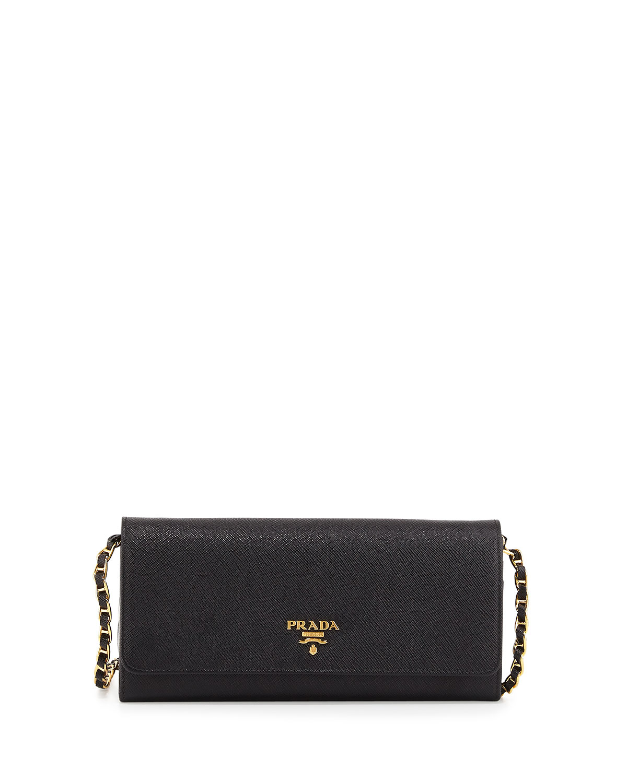 Prada Saffiano-Leather Wallet-On-Chain Bag in Beige   Lyst
