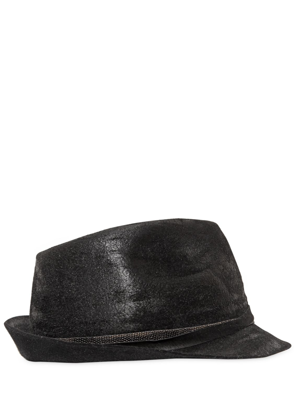 Lyst - Move Waxed Lapin Fur Felt Hat in Black b0ed94c1cd4