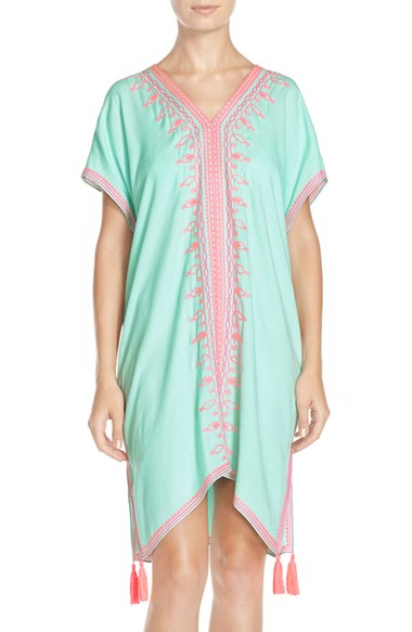 Lilly pulitzer sydney embroidered crepe caftan in blue
