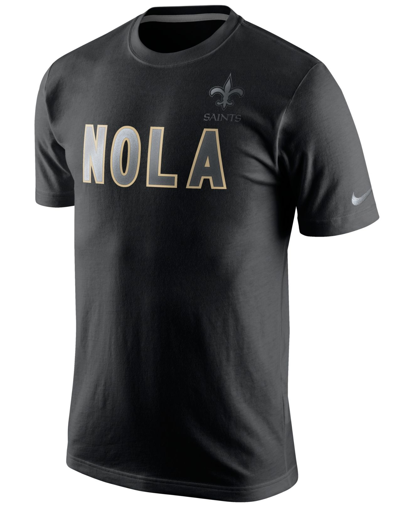 Nike men 39 s short sleeve new orleans saints reflective t for Shirt printing new orleans