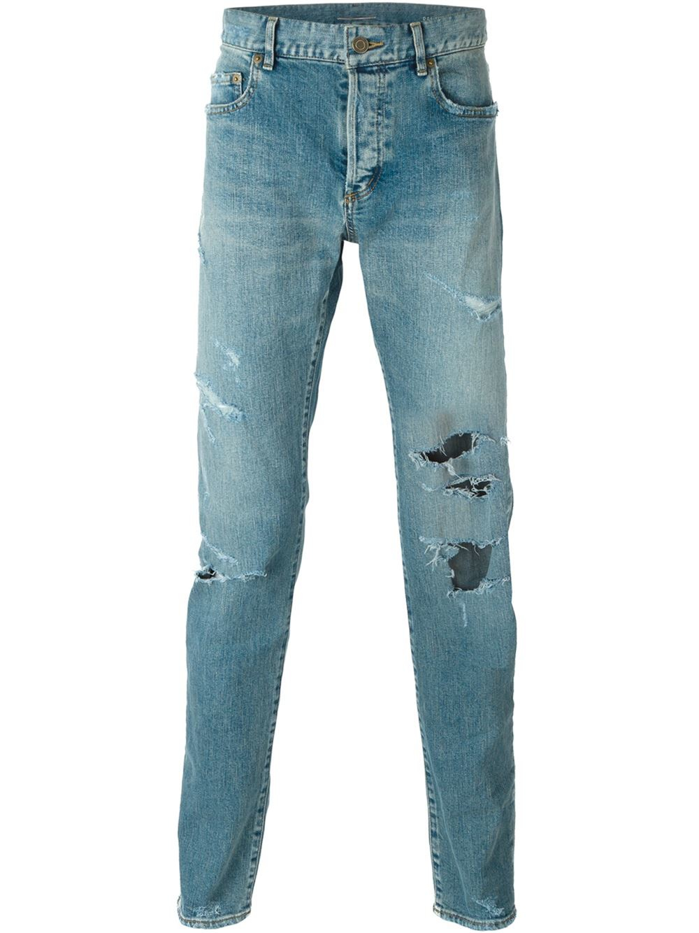 lyst saint laurent distressed slim jeans in blue for men. Black Bedroom Furniture Sets. Home Design Ideas