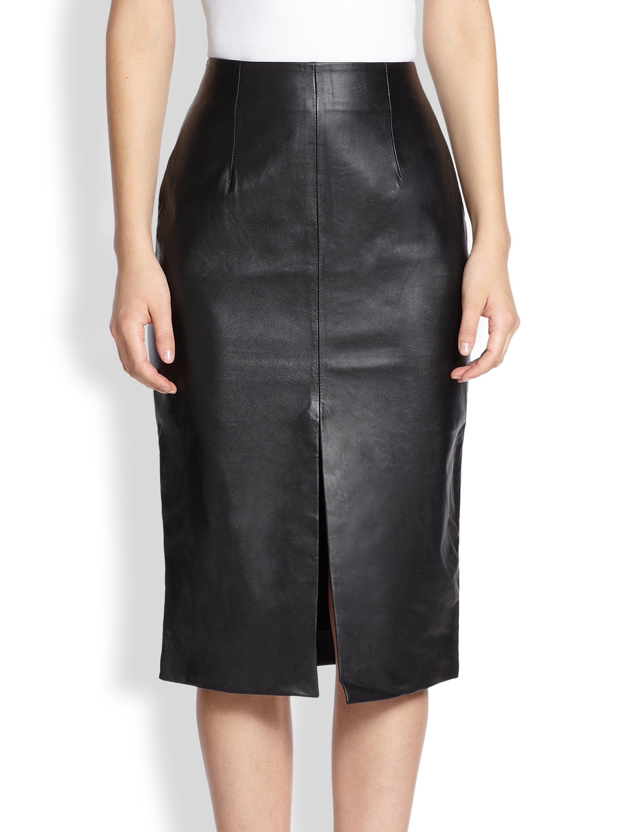 Nicholas Front-slit Leather Pencil Skirt in Black | Lyst