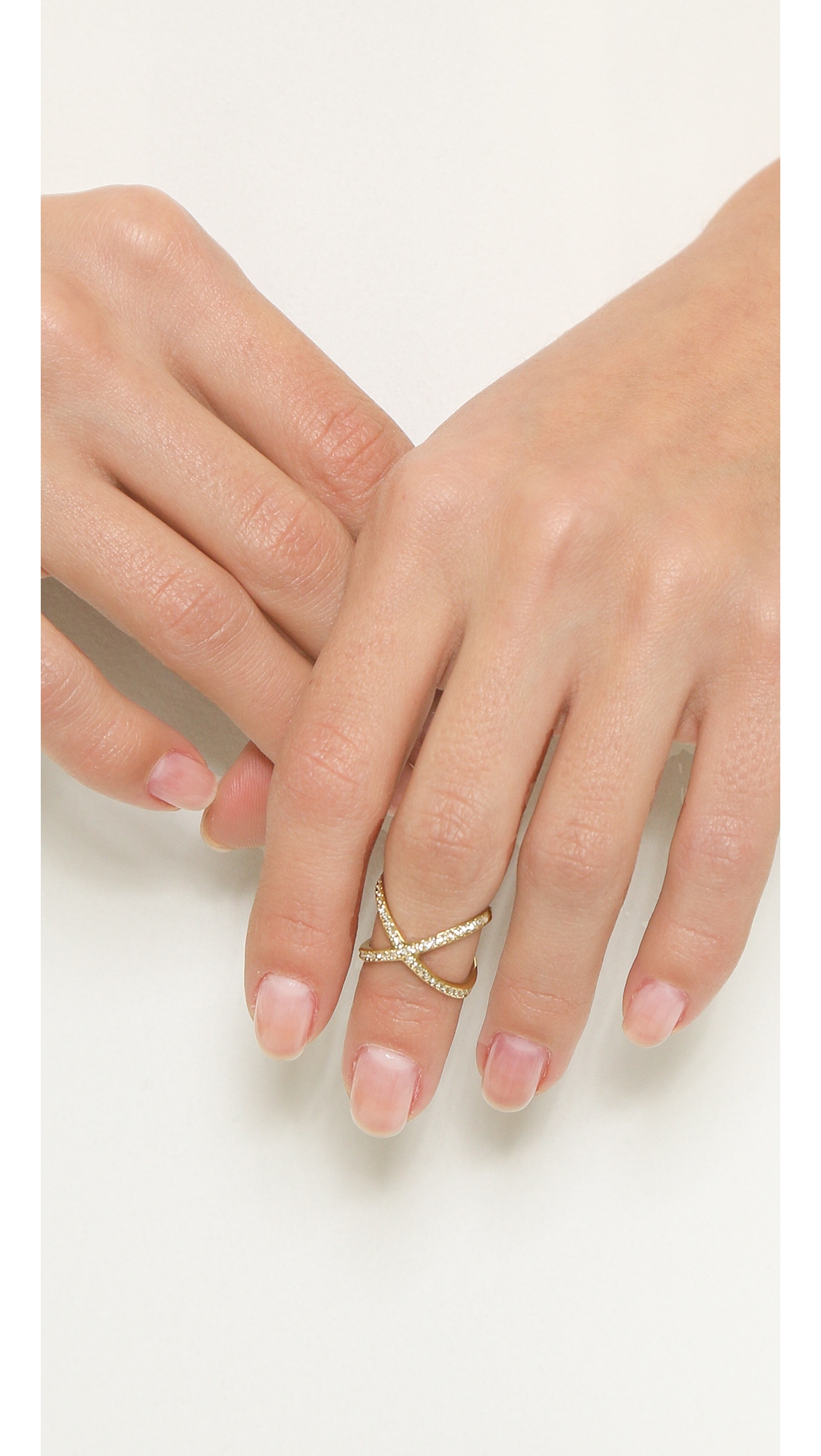 ebe2b0c06a6f ... Michael kors Pave X Midi Ring - GoldClear in Metallic Lyst ...