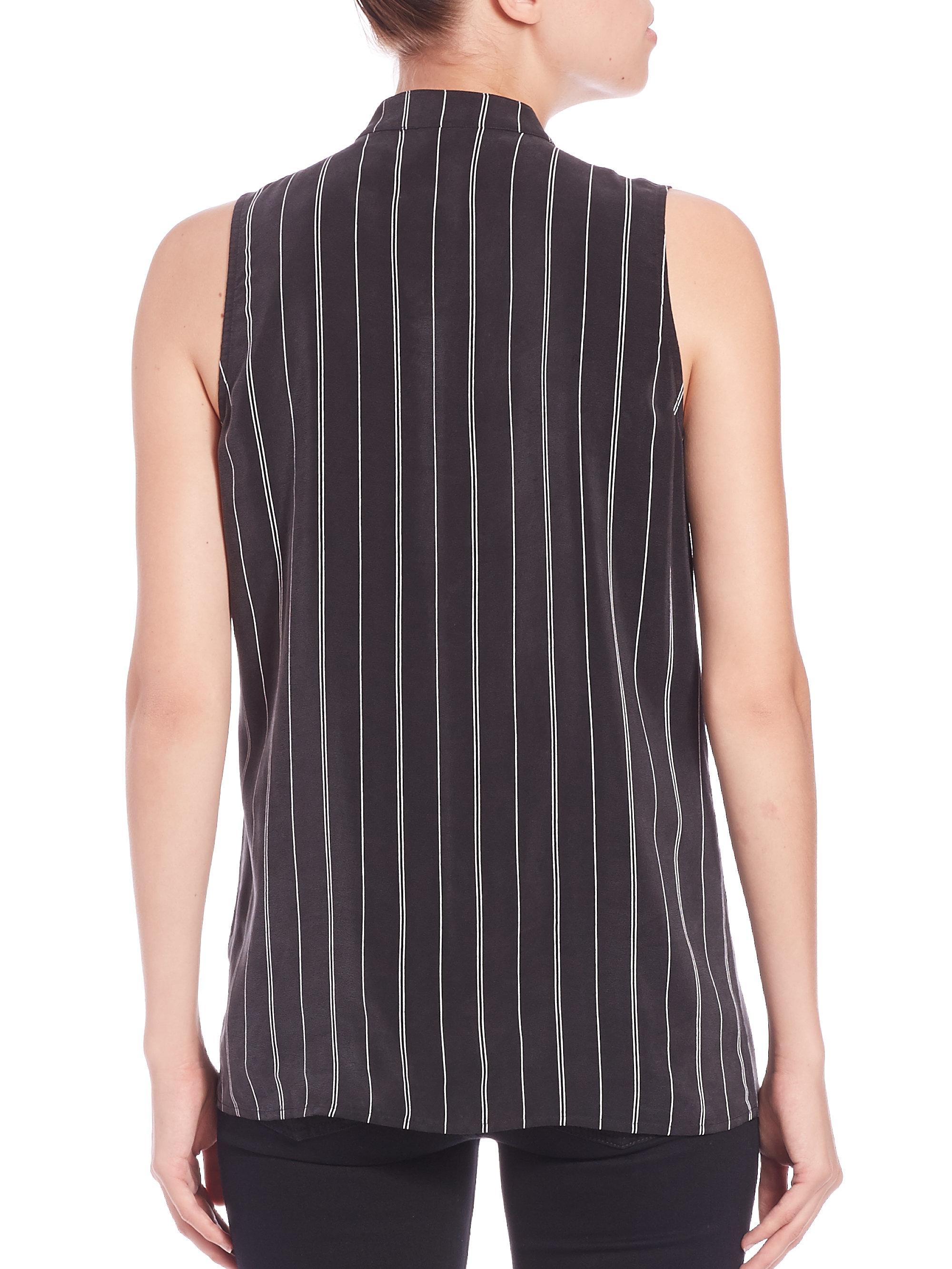 Lyst equipment emmett stripe silk shirt in black for Equipment black silk shirt