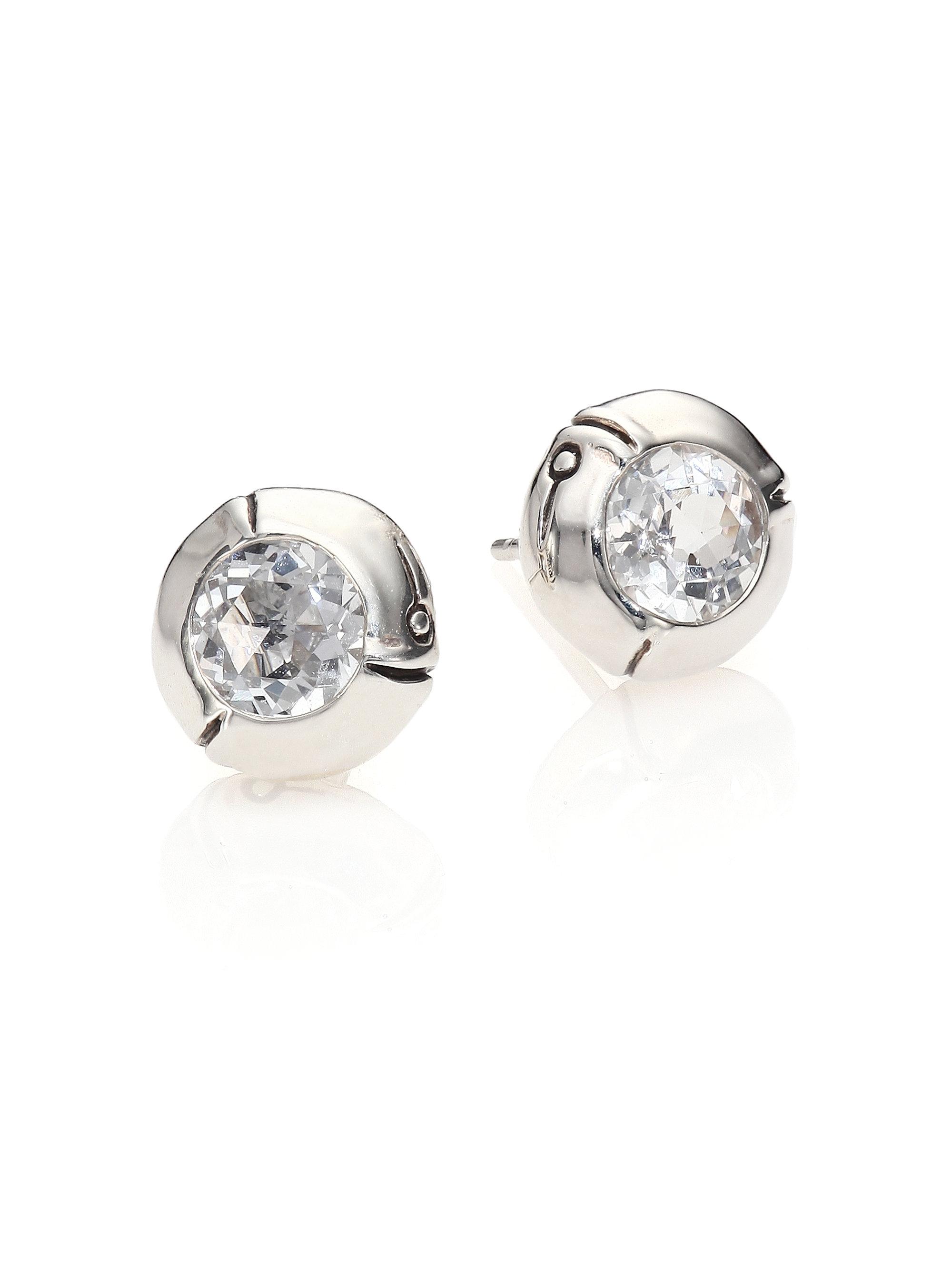 John hardy bamboo white topaz sterling silver stud for John hardy jewelry earrings