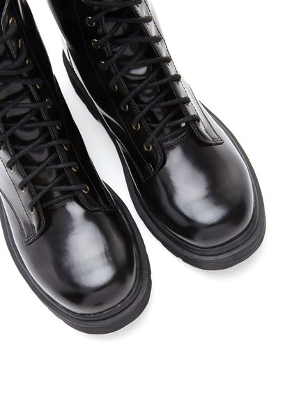 Forever 21 Faux Patent Leather Combat Boots In Black Lyst