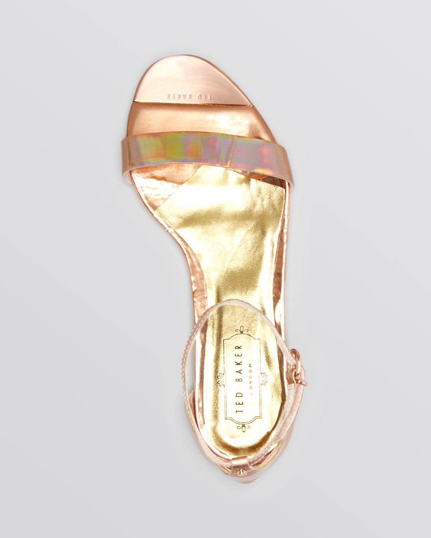df91f796578d3 Lyst - Ted Baker Flat Sandals Ballena 2 in Metallic