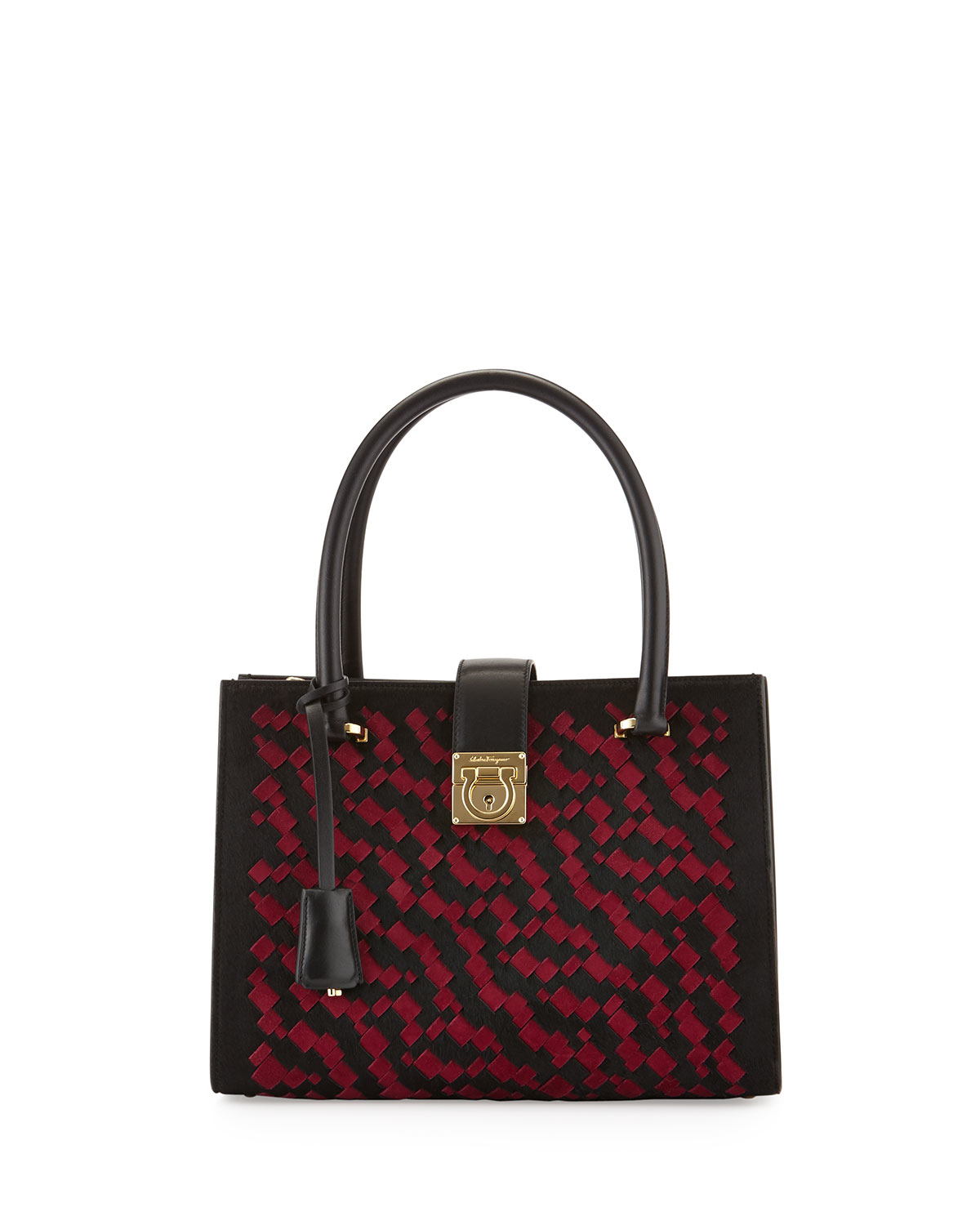 9f24cf80c79a Lyst - Ferragamo Juliette Interwoven Tote Bag in Black