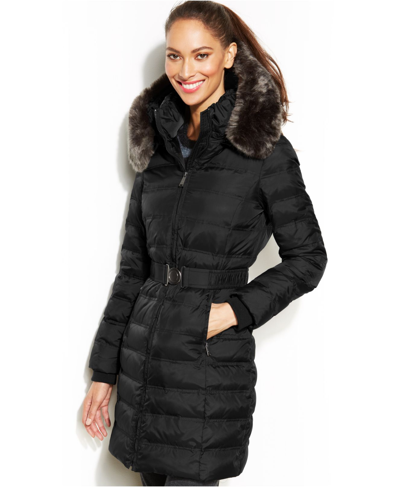 b16be4d876c Lyst - DKNY Hooded Faux-Fur-Trim Belted Down Puffer Coat in Black