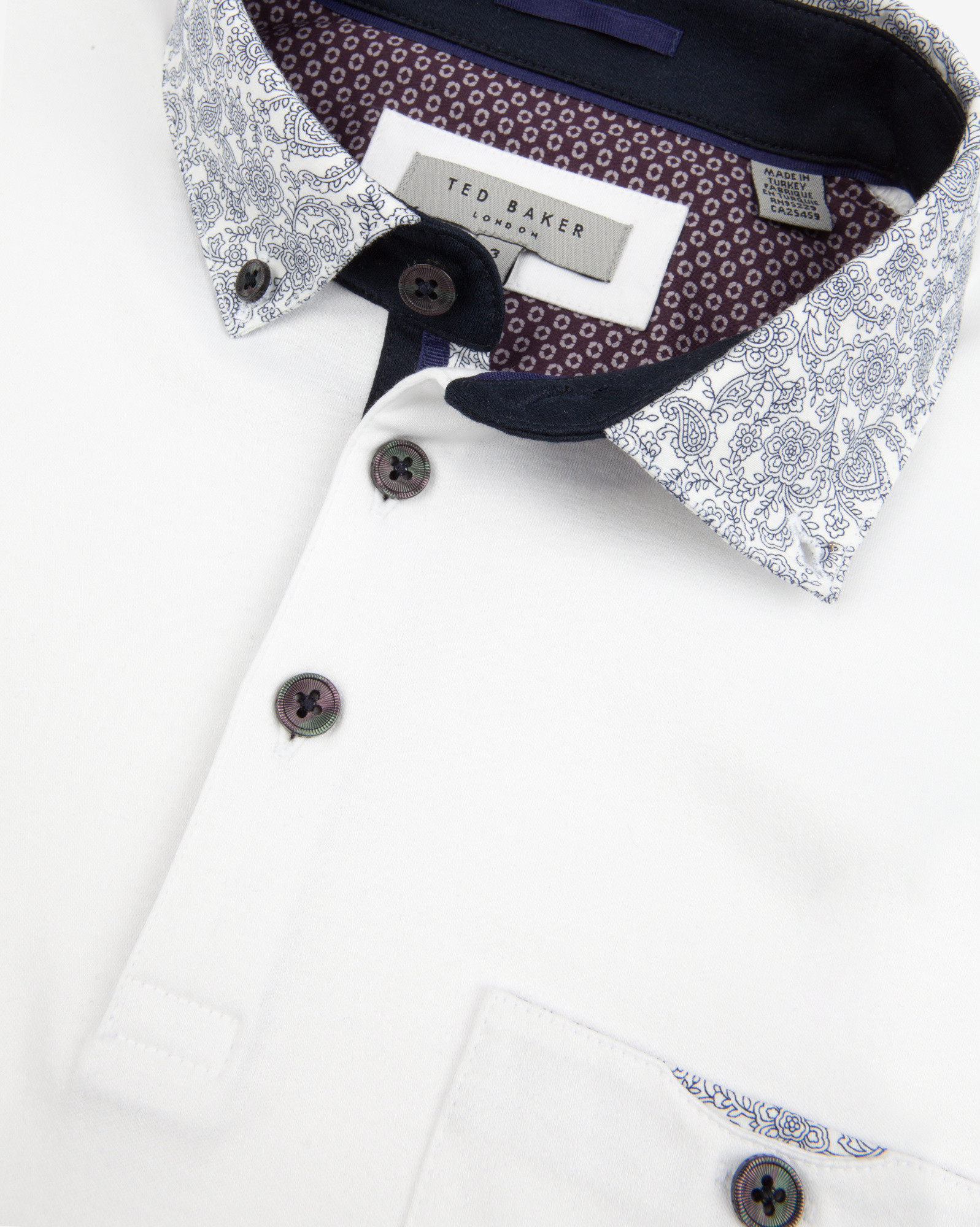 f6aad33e1 Lyst - Ted Baker Floral Print Collar Polo Shirt in White for Men