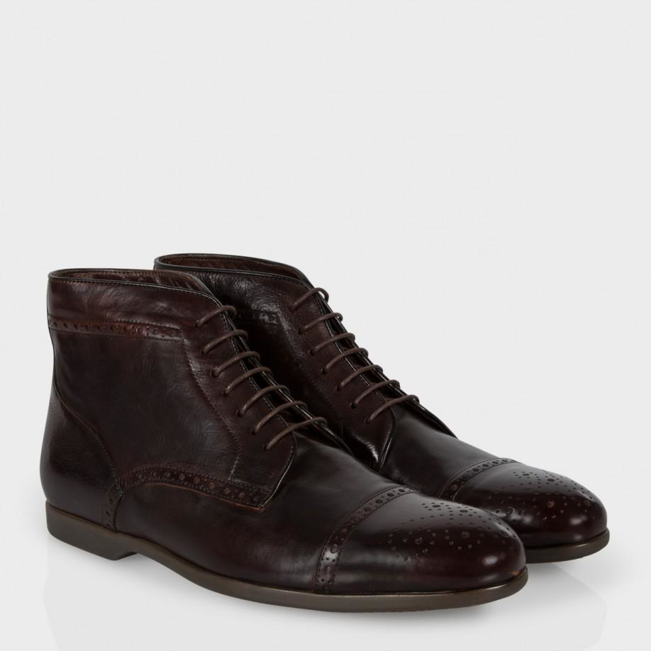 paul smith s brown leather brogue boots with
