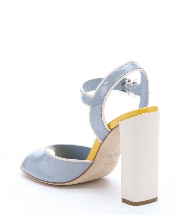 fendi light blue patent leather strappy sandals lyst. Black Bedroom Furniture Sets. Home Design Ideas