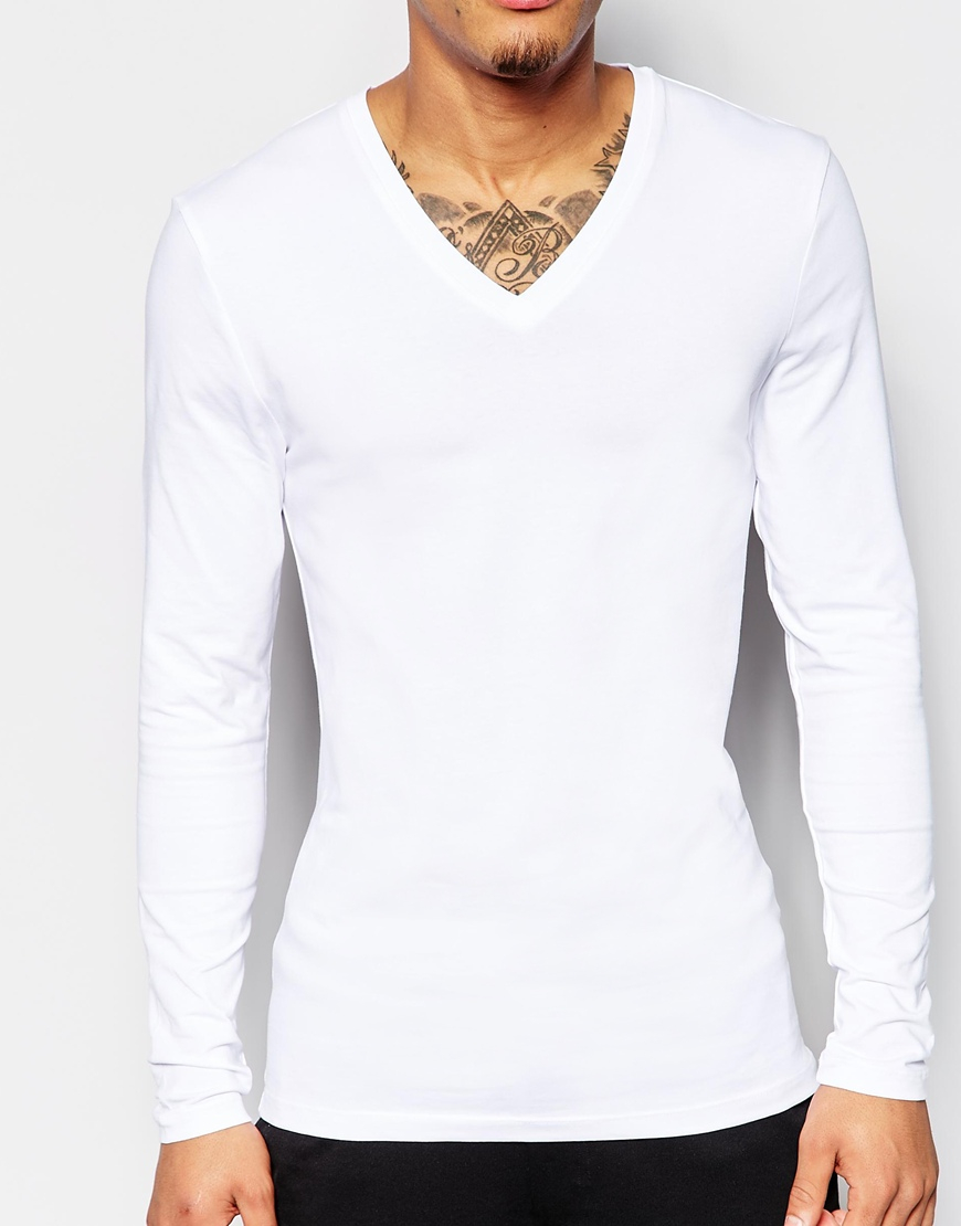 Lyst asos extreme muscle fit long sleeve t shirt with v for Long white v neck t shirt