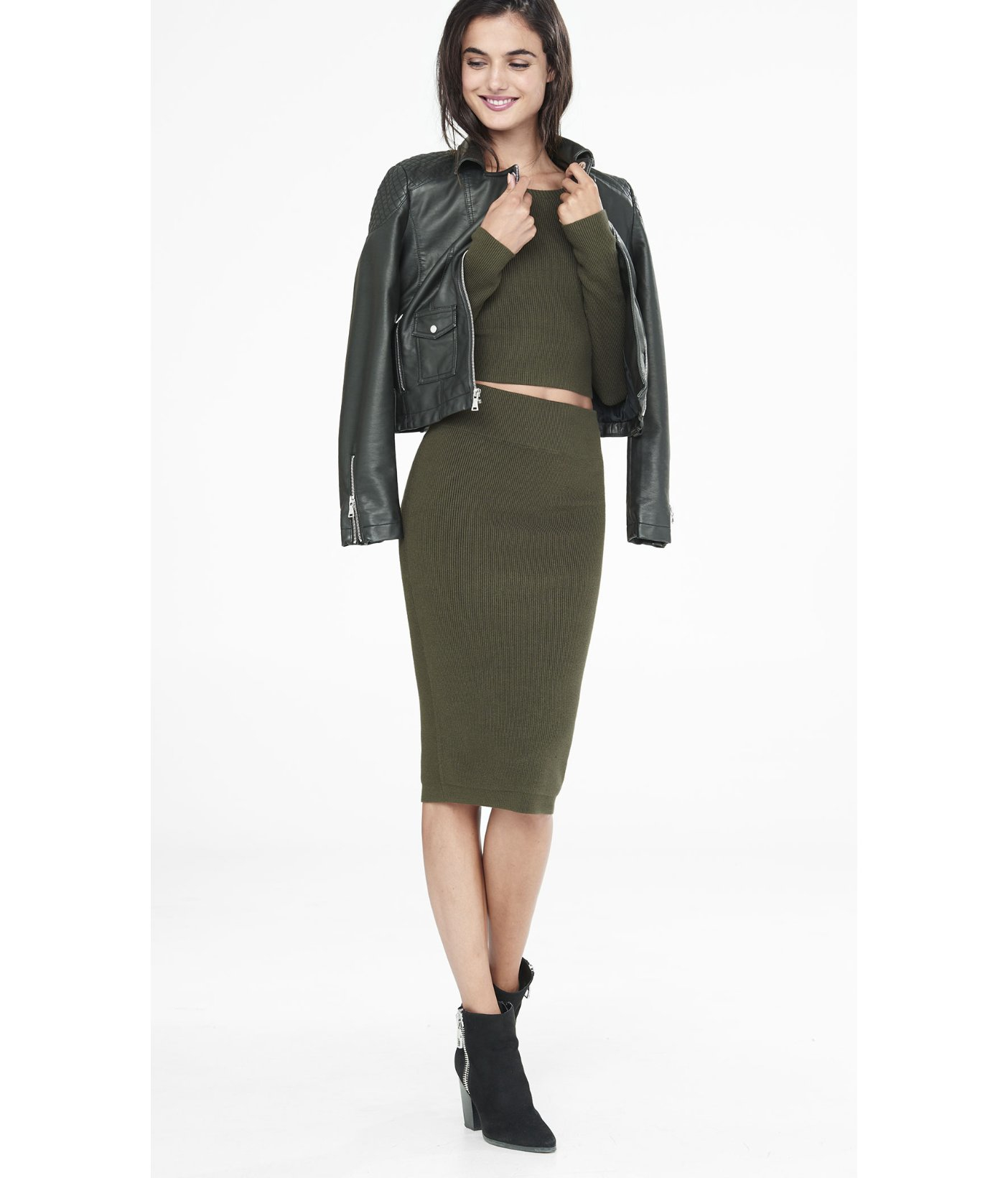 Express Olive High Waisted Ribbed Sweater Pencil Skirt in Green | Lyst