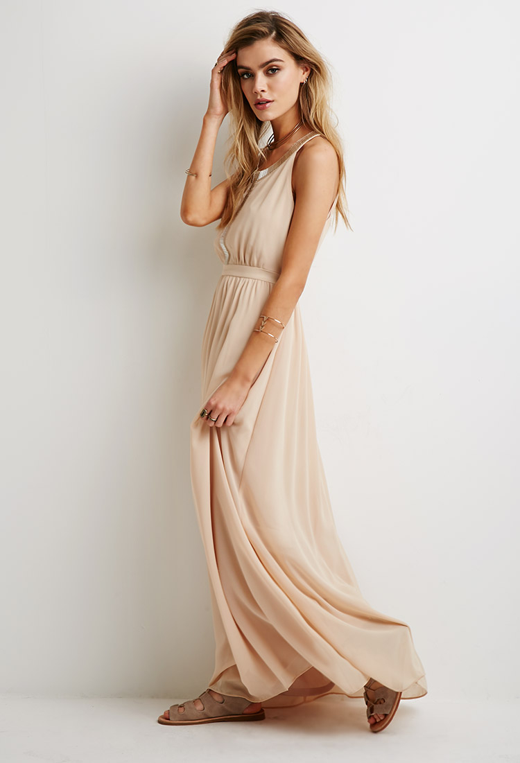 Lyst - Forever 21 Beaded Chiffon Maxi Dress in Natural