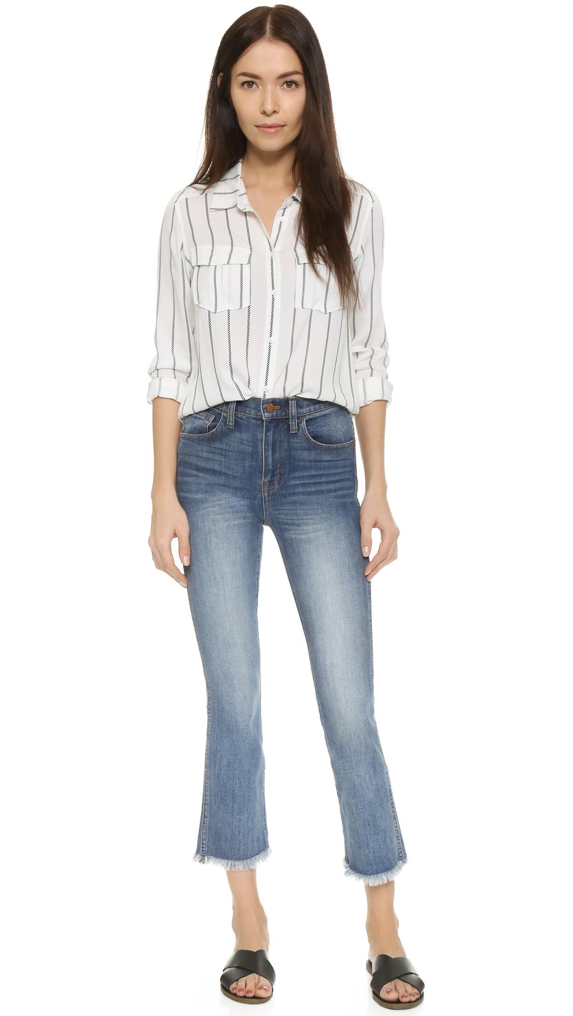 Madewell Demi Boot Raw Hem Jeans in Blue