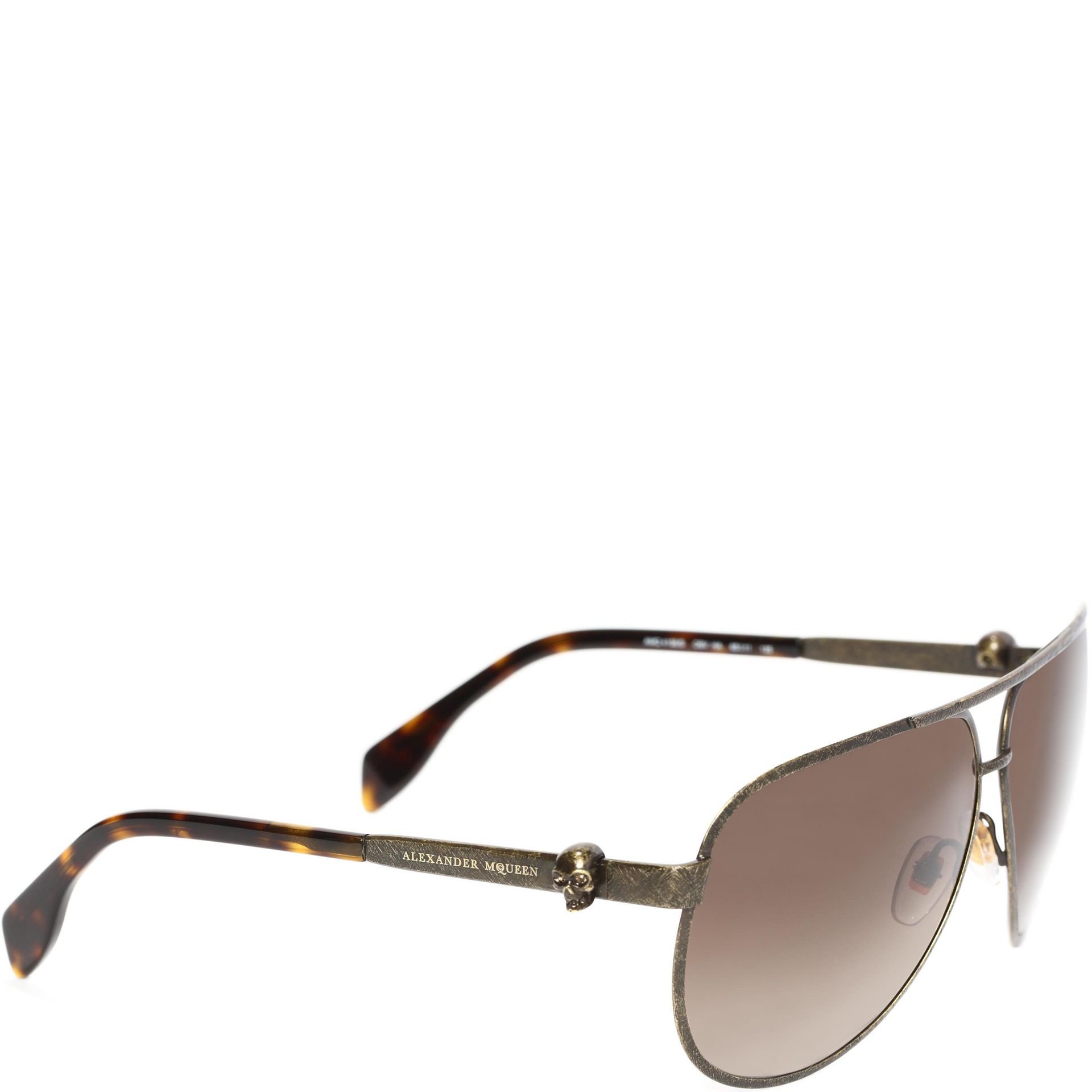 7dad38c86f Lyst - Alexander McQueen Metallic Skull Pilot Sunglasses in Brown ...