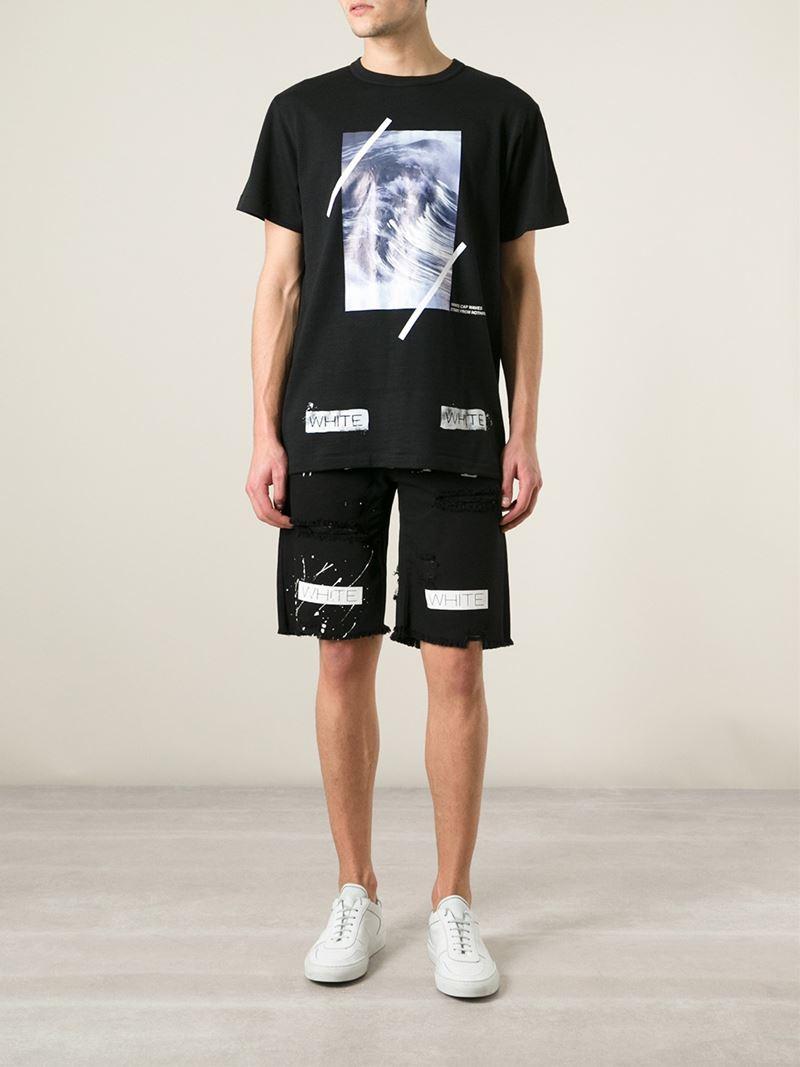 Off-white c/o virgil abloh Printed Distressed Denim Shorts in ...