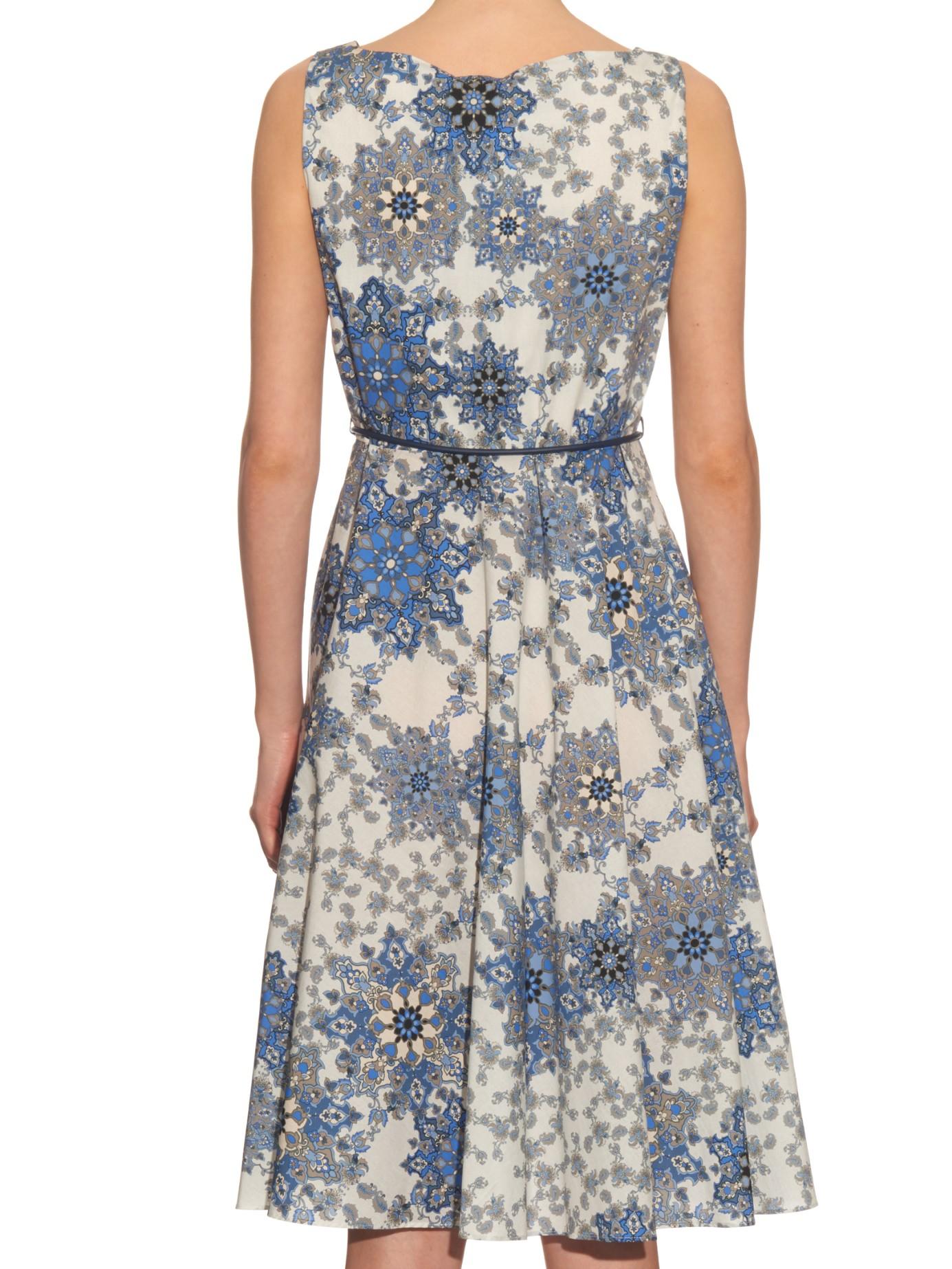 Max Mara Studio Cotton Maresca Dress In Blue Lyst