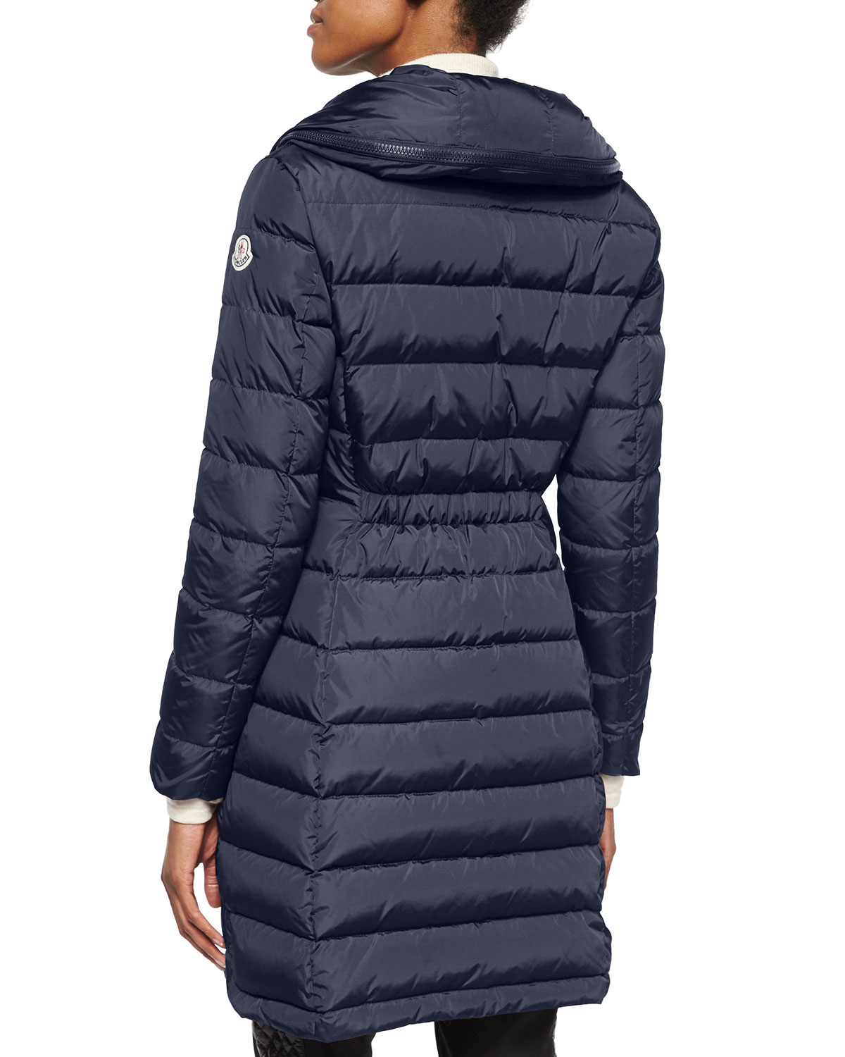 Moncler Flammette Quilted Coat In Blue Lyst