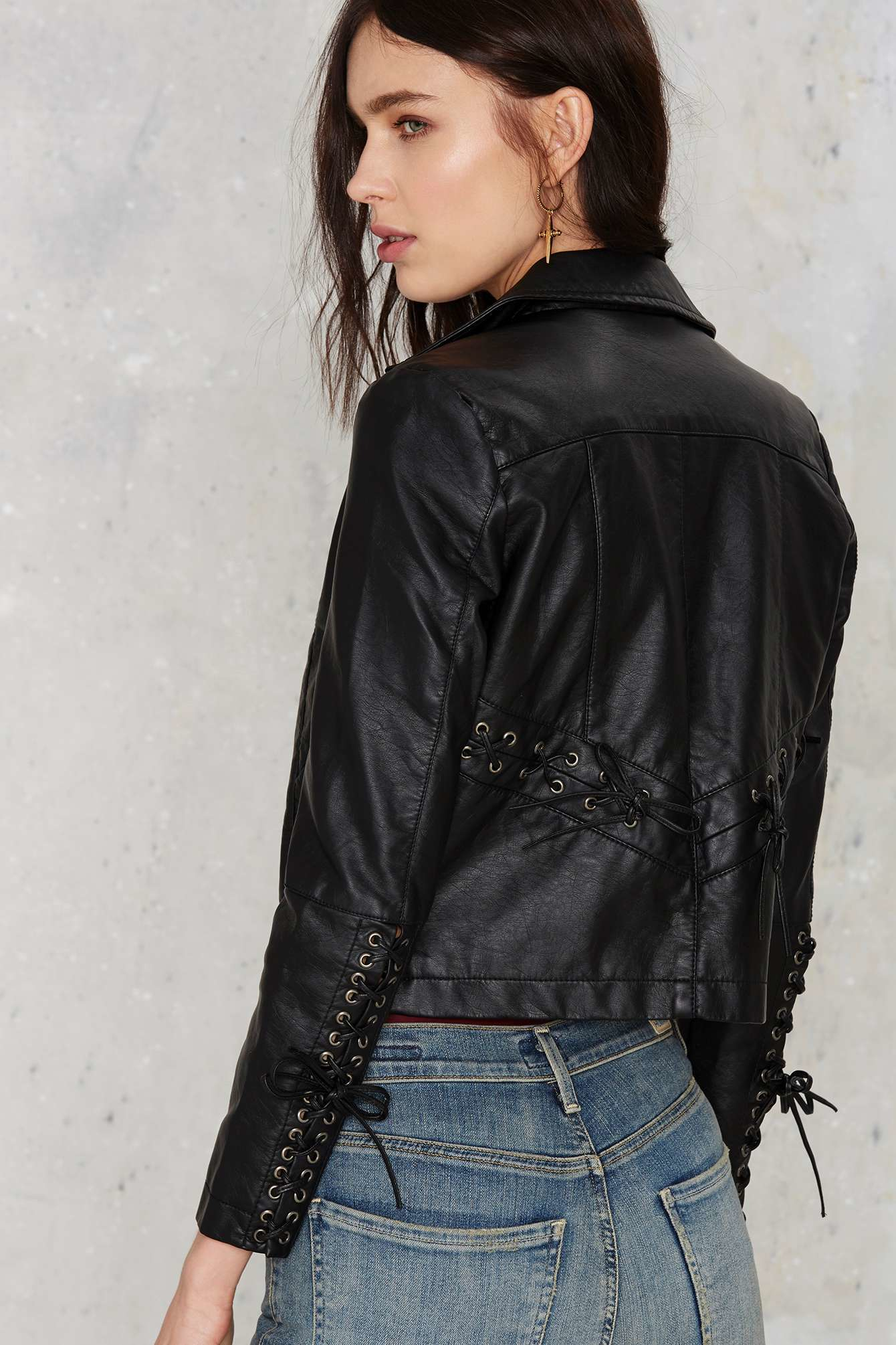 bac44645571 Lyst - Nasty Gal Brooklyn Lace-up Vegan Leather Jacket in Black