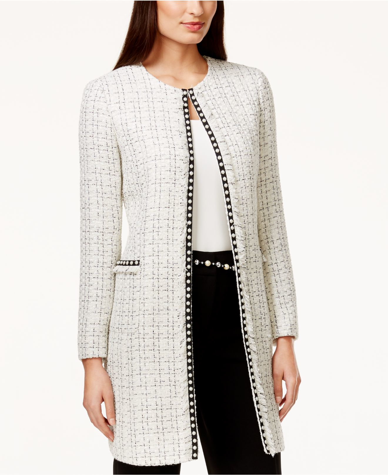 Tahari Pearl-trim Tweed Long Jacket in White | Lyst