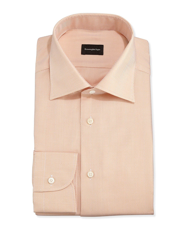 ermenegildo zegna herringbone twill dress shirt in orange for men lyst. Black Bedroom Furniture Sets. Home Design Ideas