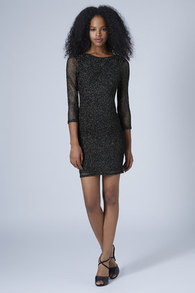 high quality special section unique design TOPSHOP Glitter Mesh Bodycon Dress in Black - Lyst