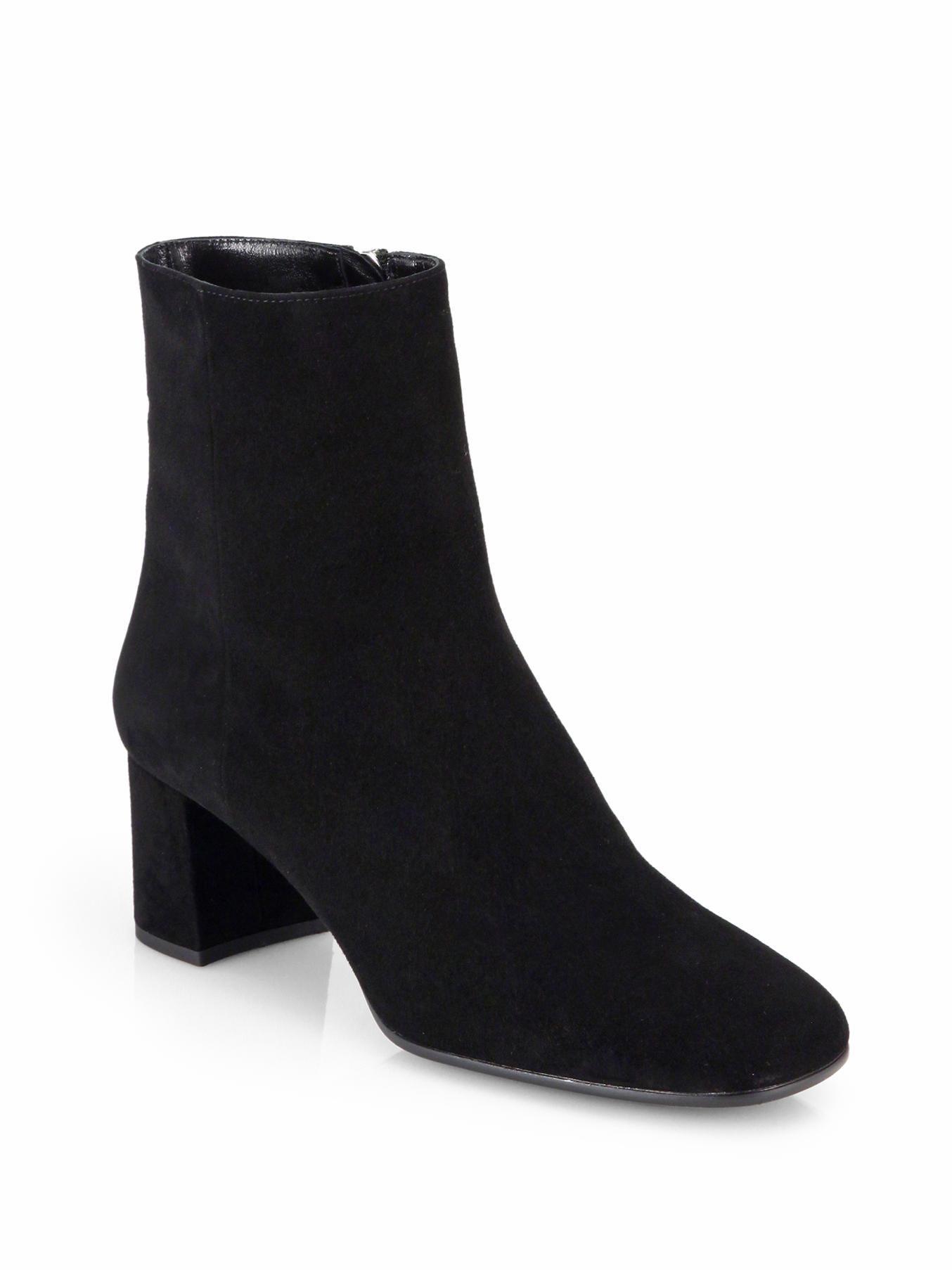 prada suede ankle boots in black nero black lyst