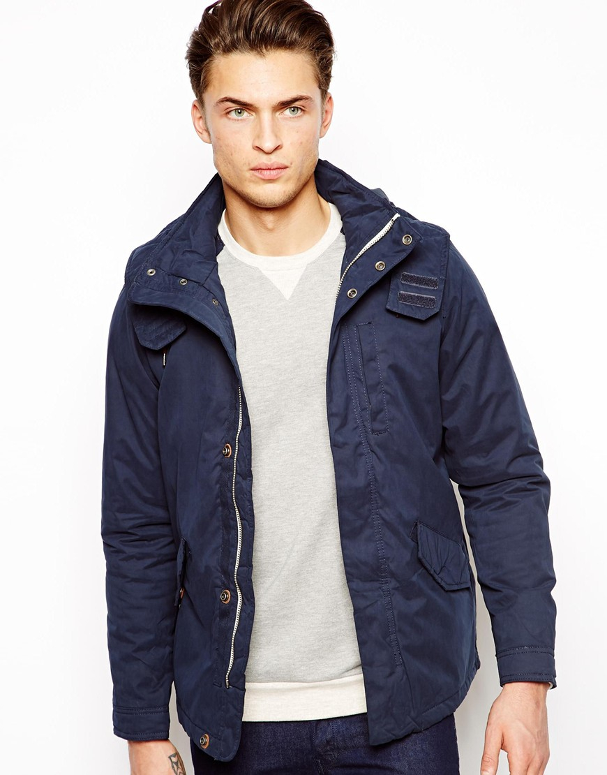 Pull&bear Lightweight Parka Jacket in Blue for Men | Lyst