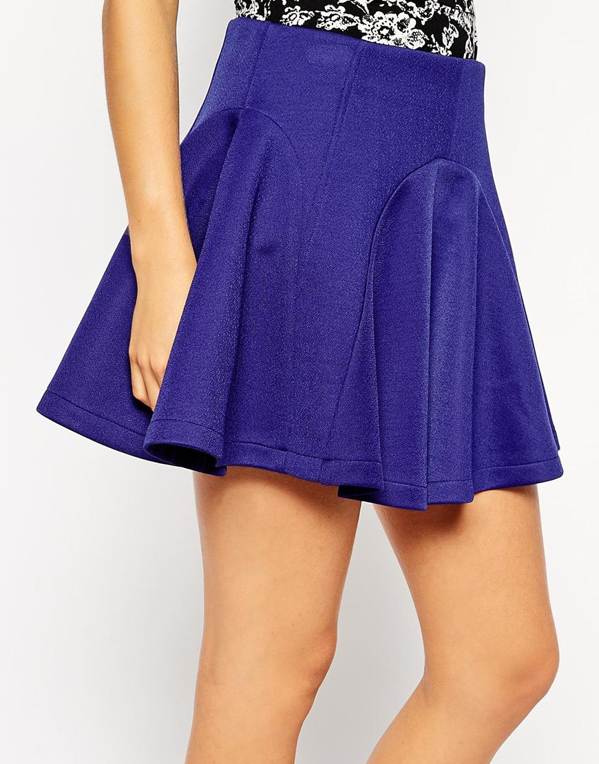 asos skater skirt with panelled seams in blue lyst