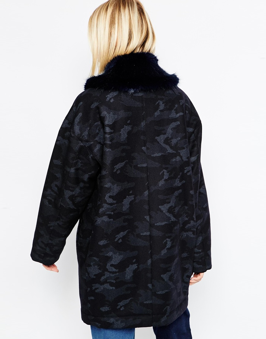 Asos Camo Coat With Faux Fur Collar In Blue Lyst
