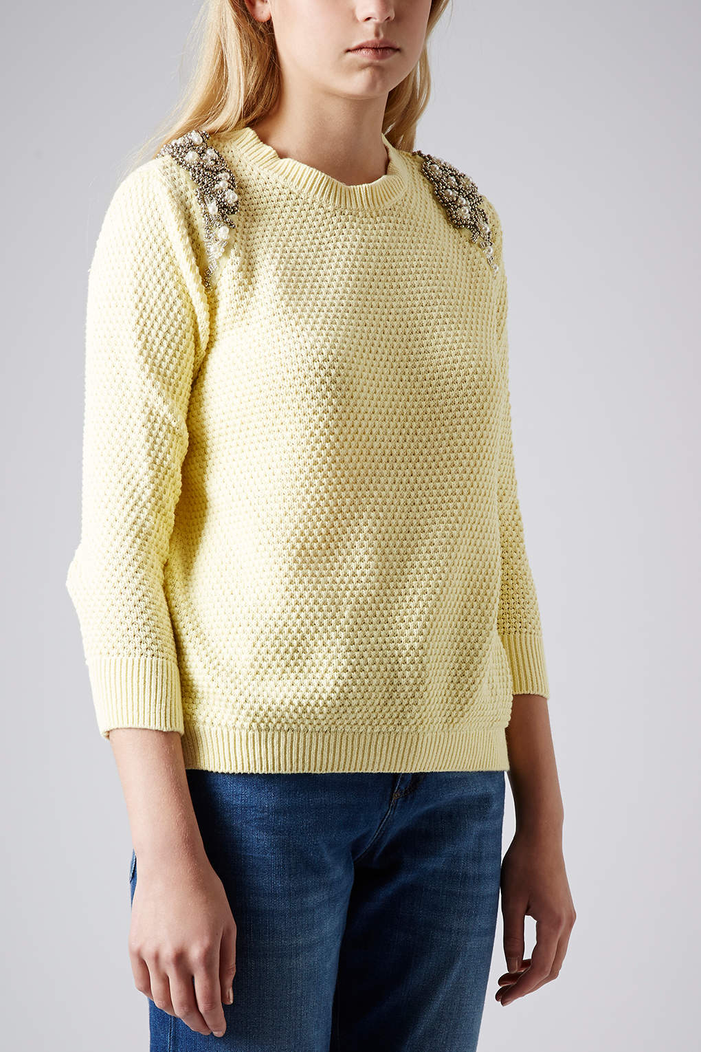 lyst topshop knitted pearl embellished jumper in yellow