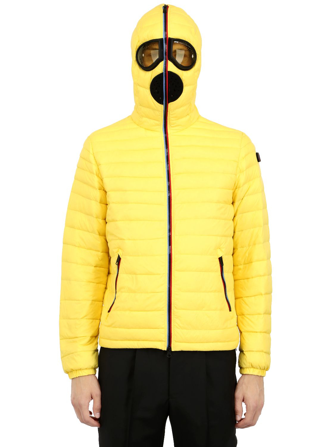 Ai Riders On The Storm Zip Up Nylon Down Jacket In Yellow