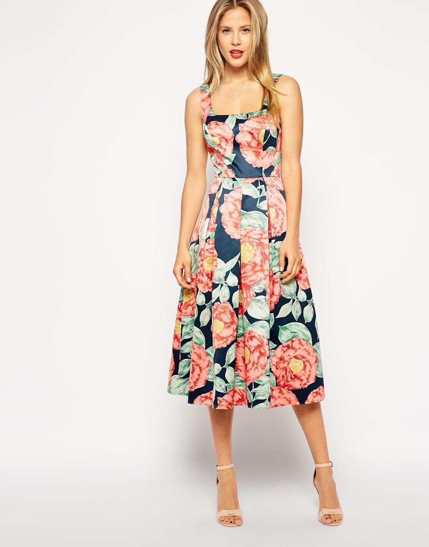 Asos Structured Midi Dress In Vintage Floral in Multicolor ...