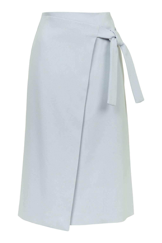 Lyst Topshop Wrap Tie Midi Skirt In Gray