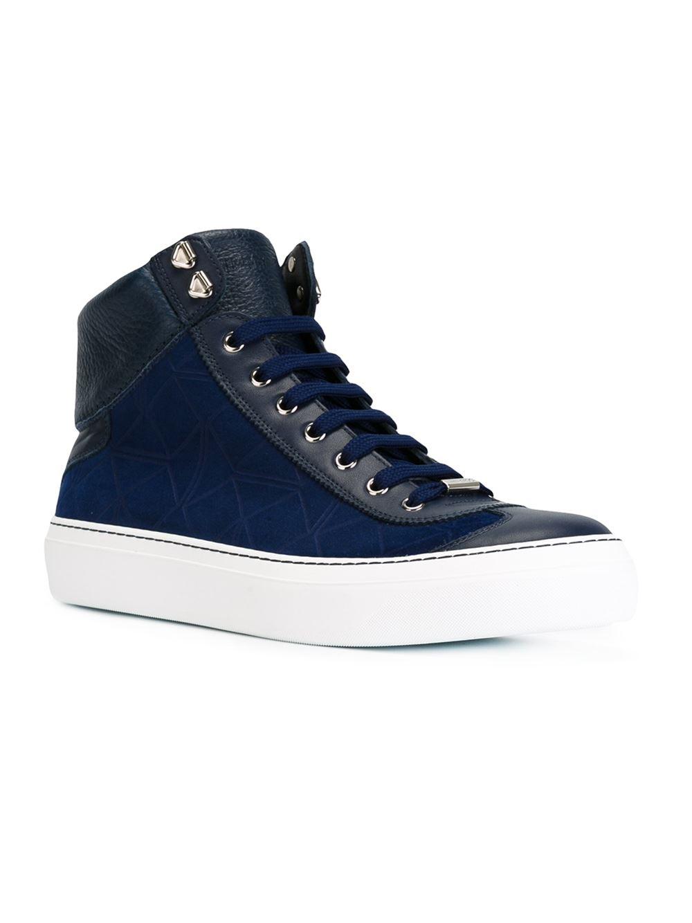 jimmy choo argyle high top sneakers in blue for men lyst. Black Bedroom Furniture Sets. Home Design Ideas