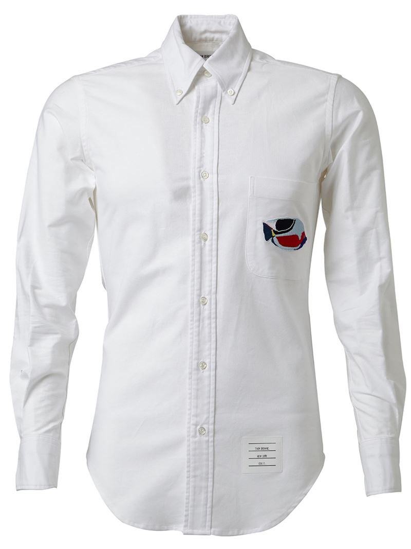 Thom browne chest pocket shirt in white for men lyst for Thom browne shirt sale
