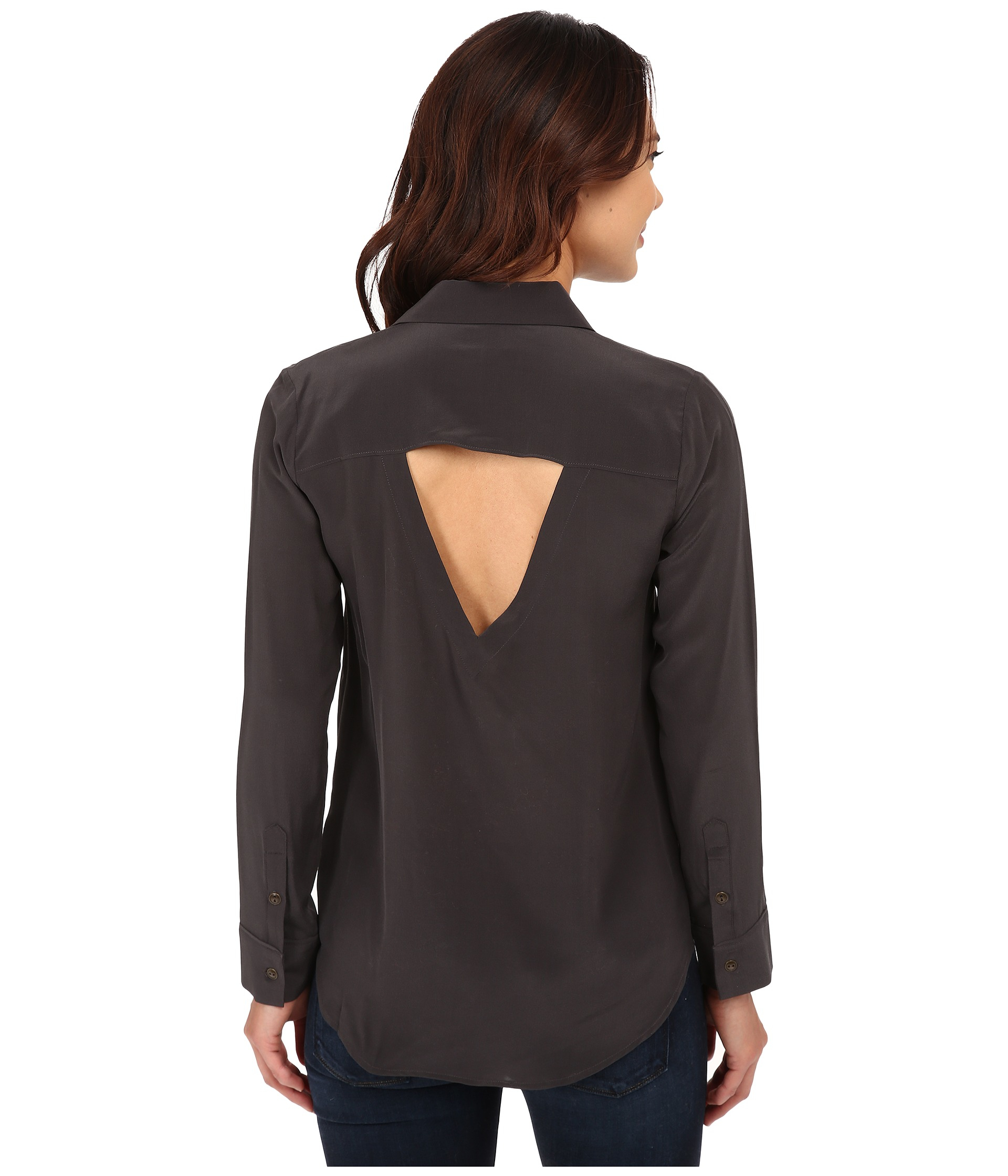 Chaser Open Back Button Down Silk Shirt In Black Lyst