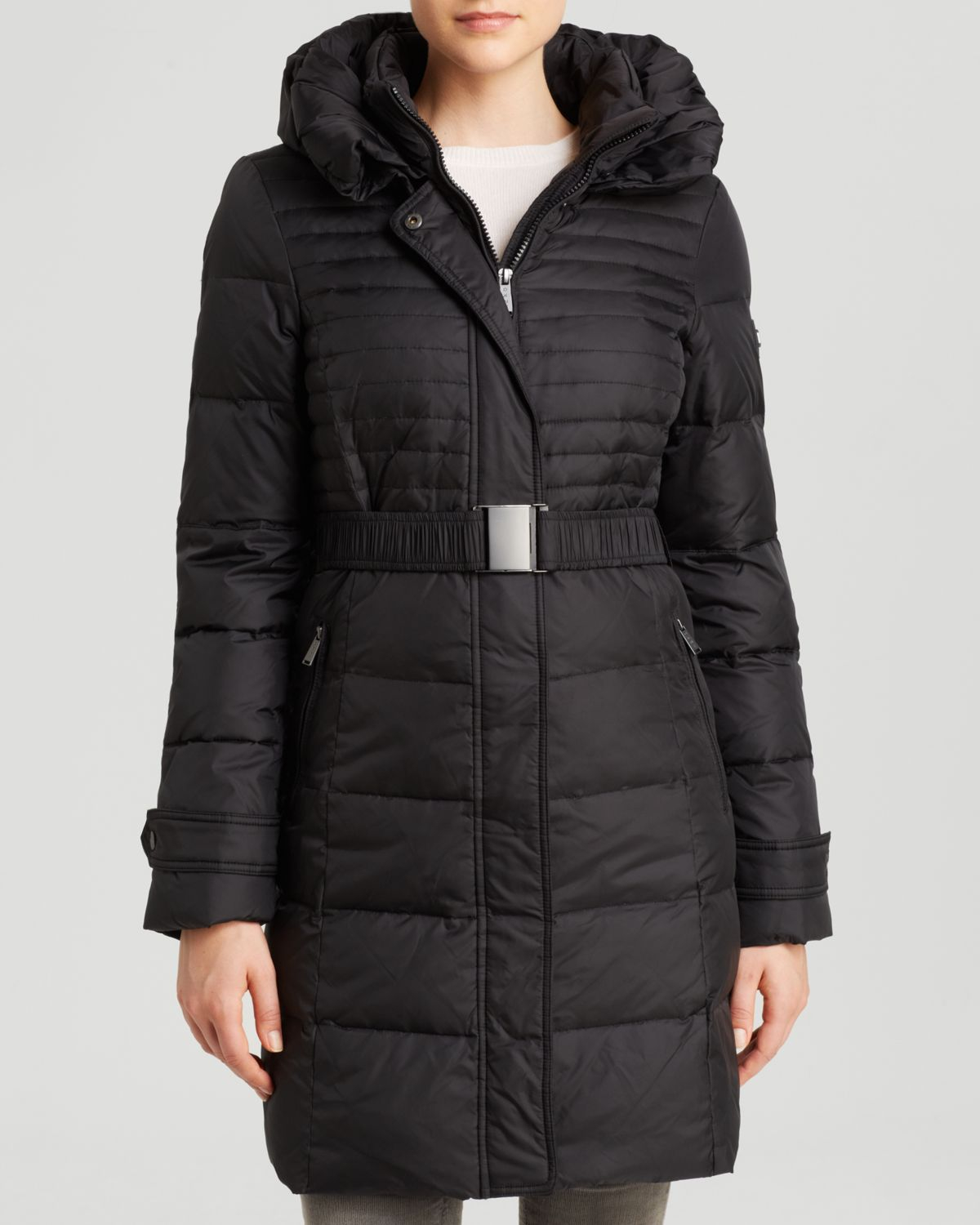 Dkny Coat Macie Belted Double Collar In Black Save 20