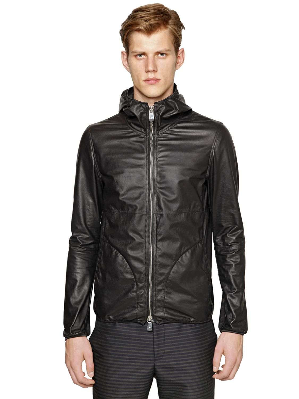 2201eb3f3 Emporio Armani Black Hooded Light Nappa Leather Jacket for men