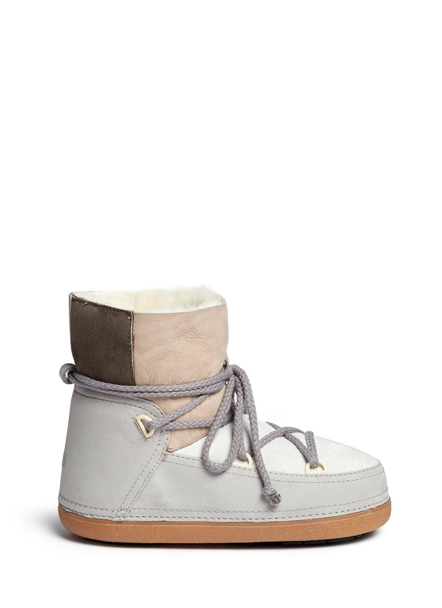 Ikkii Classic Patchwork Suede Snow Boots in Grey
