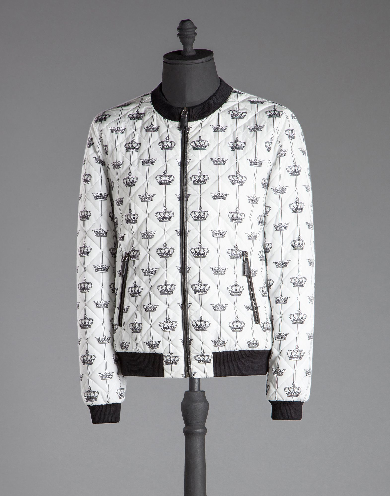 Dolce & Gabbana Quilted Nylon Bomber Crown Print in White for Men